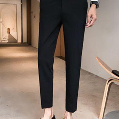 韩版潮西装九分裤男裤男裤子七分裤男装裤港风西裤男百搭西装裤