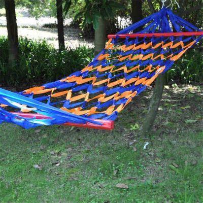 户外吊床创意带木棍网状尼龙绳野营单人成人网床室内儿童秋千网格