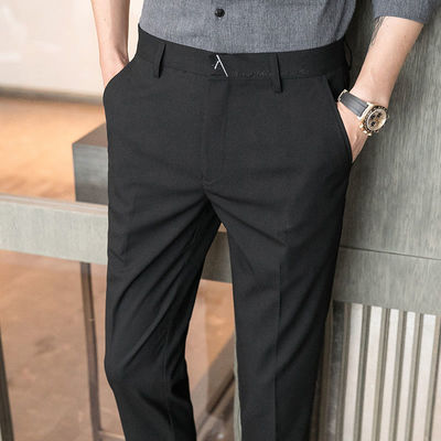 春夏薄款男士商务休闲西装裤子韩版弹力修身直筒小脚九分西裤男潮