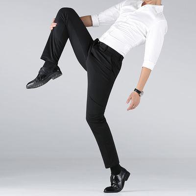 保罗休闲裤男春夏季薄款弹力韩版直筒修身上班商务西装裤男装西裤