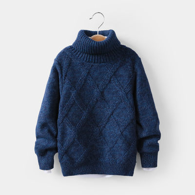 纯色童装毛衣秋冬新款男童高领加厚针织衫中大童儿童加绒保暖外套
