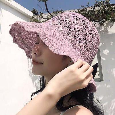 空顶帽卷遮阳帽女夏天防晒韩版大沿凉帽子百搭波浪边可折叠太阳帽