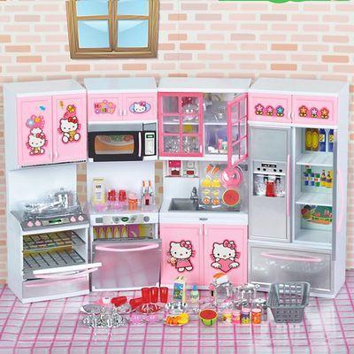 凯蒂猫厨房玩具套装仿真迷你过家家煮饭厨具helloKitty女生日礼物