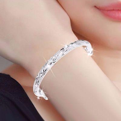 时尚经典镀银手镯女手环情侣手链女学生韩版简约闺蜜手链生日礼物