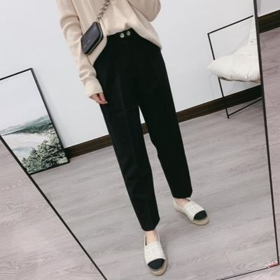 新款英伦风OL双扣高腰显瘦小直筒裤简约休闲西装裤宽松九分烟管裤