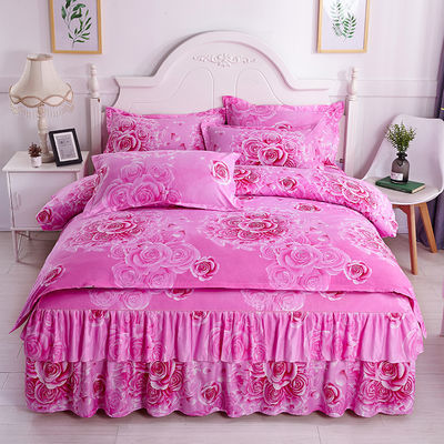 韩版双层床裙床罩四件套公主风四件套磨毛亲肤床单被套床上用品