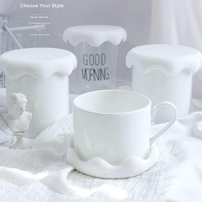 2个装硅胶防尘陶瓷茶杯玻璃水杯积雪马克杯子盖子夹勺通用水杯盖