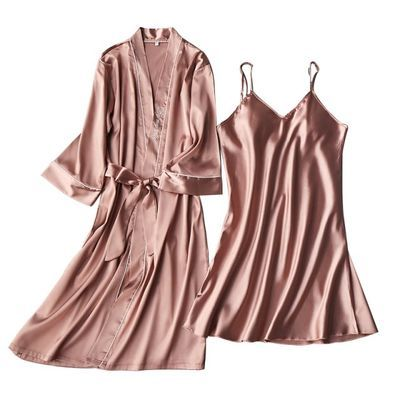 蕾丝冰丝新婚火辣夏冰丝质睡袍女夏女款中长魅力开衫顾客肥大和服