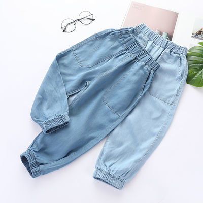 儿童夏季天丝棉牛仔宝宝裤子男童休闲防蚊长裤新款童装薄款运动裤