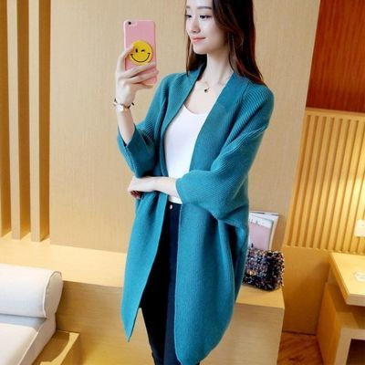 春装新款蝙蝠袖大码女装 韩版中长款宽松纯色毛衣女针织开衫外套