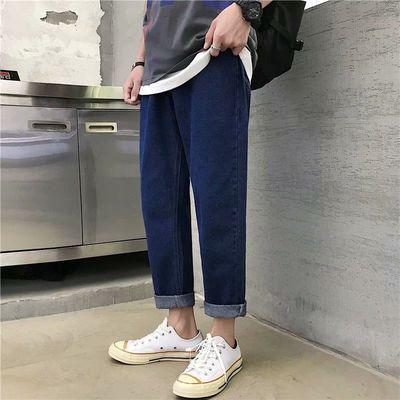 春季牛仔裤男韩版潮流直筒简约纯色宽松学生休闲九分