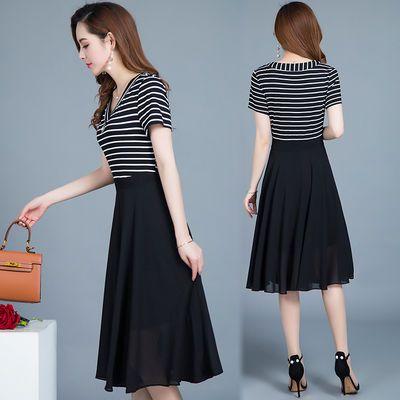 【正版】A字裙夏季新款女装显瘦中长款条纹雪纺连衣裙时尚裙子女