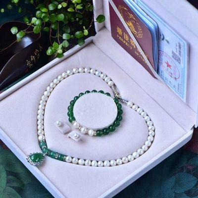 天然精品珍珠项链耳钉手链三件套 数量不多