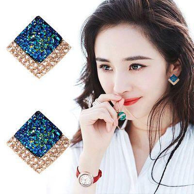 韩国个性百搭方形时尚莫兰迪色系水晶耳环夸张大气耳扣耳钉女爆款