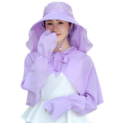 帽子披肩女士夏天大帽檐太阳帽遮脸防晒采茶帽户外骑车防紫外线帽