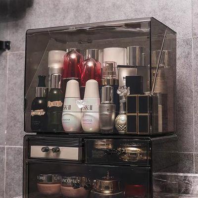35466/网红防尘化妆品收纳盒大号口红护肤品梳妆台桌面透明亚克力置物架