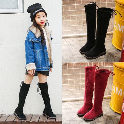 女童靴子过膝长靴公主儿童高筒靴秋冬2020款棉靴中大童长筒靴加绒