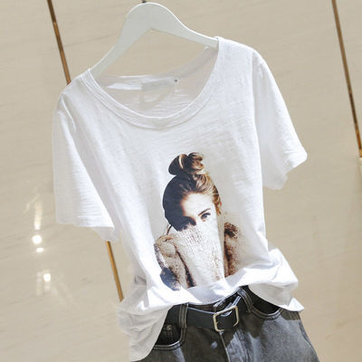 95棉竹节棉夏季新款韩版圆领头像印花薄款体恤宽松百搭T恤打底衫
