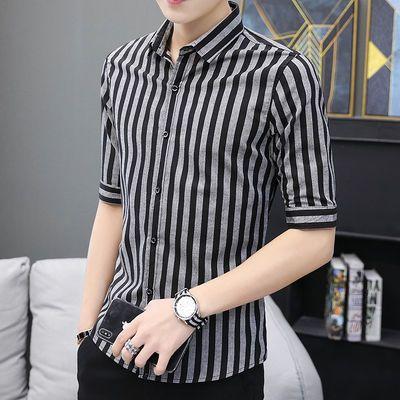 短袖衬衫男春夏季新品条纹职业工装休闲男装上衣2020新款工作服