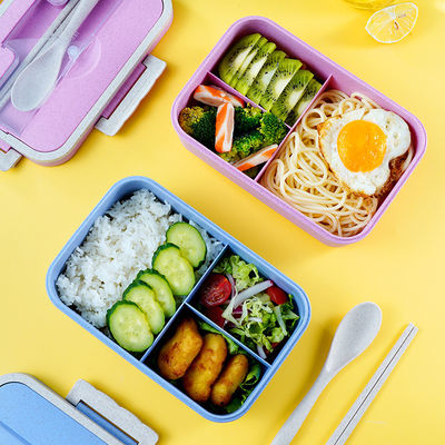 小麦秸秆饭盒学生女三格日式便当盒手提微波炉加热保温上班族餐盒