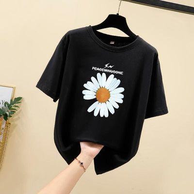 2020夏季新款短袖女T恤宽松圆领小雏菊花简约百搭印花实拍纯棉潮