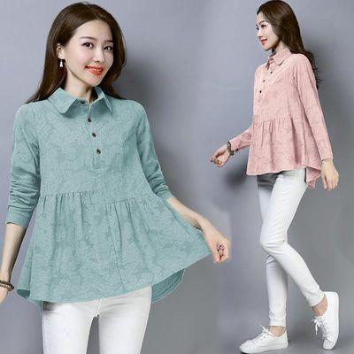 实拍2020秋季新款韩版宽松大码棉麻女装长袖提花娃娃衫衬衣