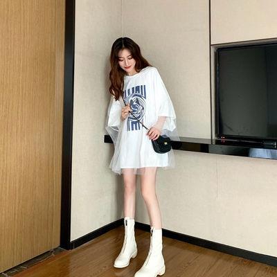小清新网纱拼接短袖T恤女韩版夏季古着感宽松假两件上衣洋气tee潮