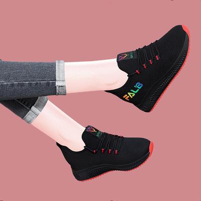 透气防滑软底运动鞋女平底增高2020春季新款休闲鞋旅游鞋女鞋子