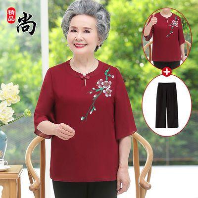七十岁老年女装夏装老人衣服奶奶装60岁70-80短袖老年人T恤女夏季