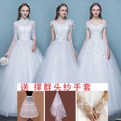 婚纱礼服2019新款新娘结婚一字肩婚纱礼服韩式显瘦齐地森系轻婚纱