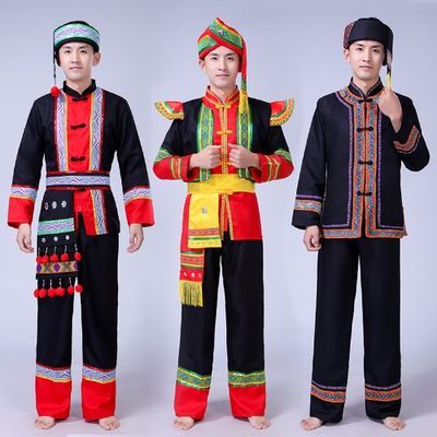 成人壮族演出服装男装云南少数民族苗族舞蹈表演服葫芦丝演出服饰