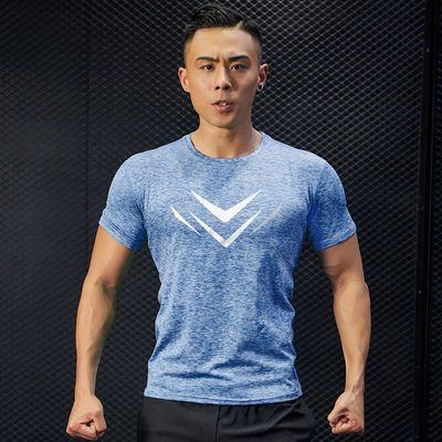 健身衣涤纶短袖棉t透气白色t恤男干衣半袖健身服运动速干吸汗跑步