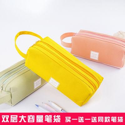 笔袋女生韩版简约考试必备文具袋创意大容量双层铅笔袋中小学生帆
