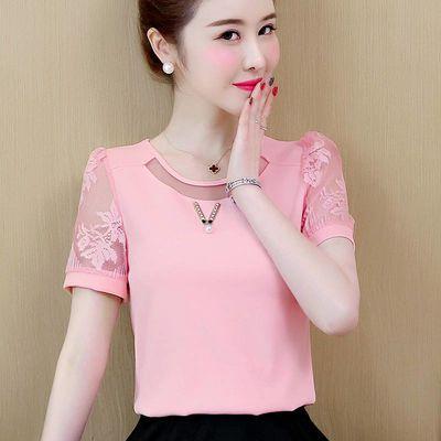 短袖雪纺衫女春夏装新款2020韩版大码宽松蕾丝打底衫半轴气质小衫