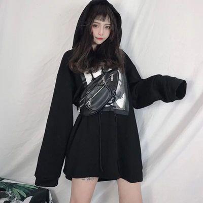 女上秋季上衣学生襟上原宿原宿风领口bf大领嘻哈风长袖韩版外套