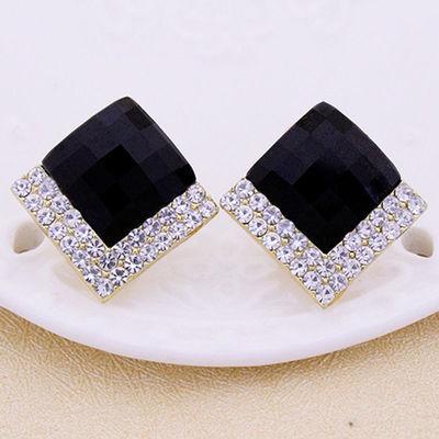 水晶菱形大耳钉女气质简约百搭S925银针耳环个性短款方块耳坠耳扣