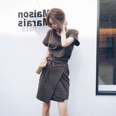 欧洲站2020韩国夏季新款女装显瘦气质不规则裙子小香风连衣裙