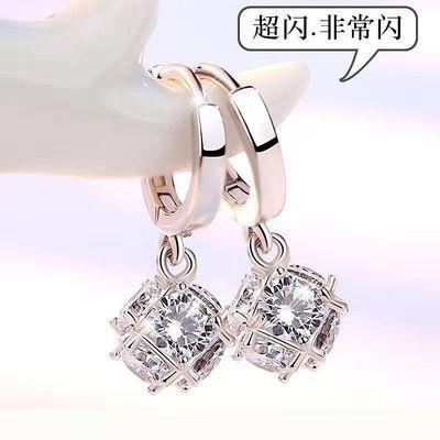 新款纯银色耳扣韩国魔方水晶耳坠女气质长款个性显脸瘦网红耳环潮