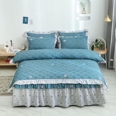 100%纯棉被套四件套双人被罩床上用品加厚全夹棉床裙三件套床罩款