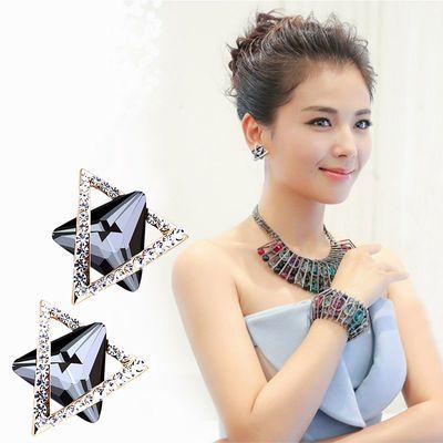 包邮女士耳钉韩版时尚水晶耳针耳坠新款纯银耳环饰品服饰耳扣耳饰