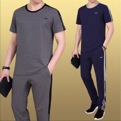 中老年休闲运动套装男装圆领短袖长裤两件套爸爸跑步晨练夏季套装