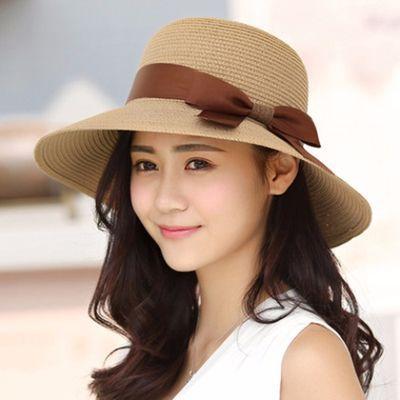 户外折叠草帽女夏天遮阳帽韩版潮大沿女士防晒太阳帽夏季沙滩帽子