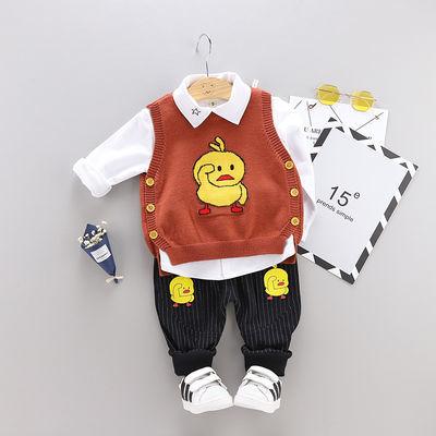 潮款童装秋装男婴儿童装男男童夏装洋气三件套套装衣服宝宝新款