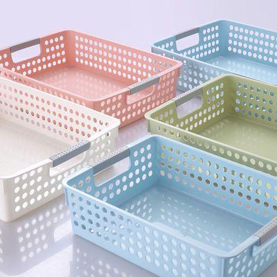 日式加厚长方形塑料收纳篮厨房浴室桌面收纳置物篮子A4纸收纳筐