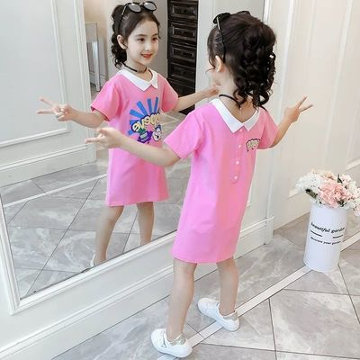 女童短袖纯棉t恤2020童装儿童半袖夏季中长款上衣女孩洋气连衣裙