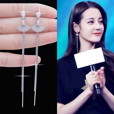 无耳洞耳饰女韩国扇子夹耳环耳夹式流苏长款气质不用打耳洞的耳夹
