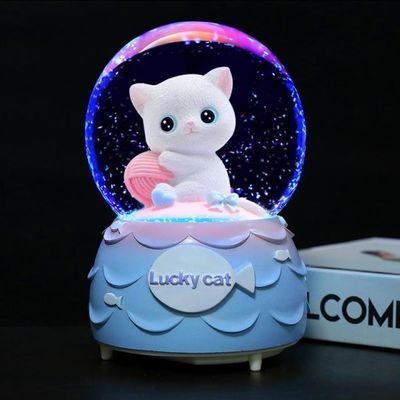 透明水晶球音乐盒雪花玻璃圆球儿童节生日礼物女生梦幻八音盒摆件
