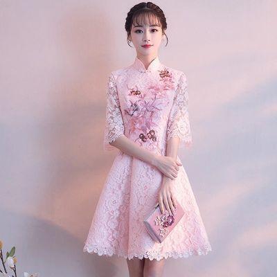 礼服女学生毕业夏短款2019新款韩版显瘦中式晚礼服婚纱旗袍连衣裙