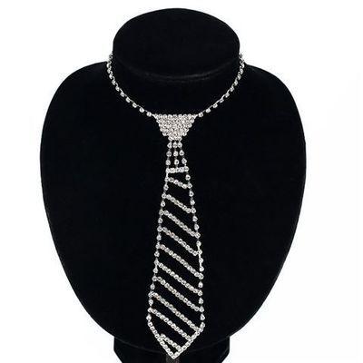 欧美复古饰品水钻领带长款项链女式领结时尚镶钻服装领带项链N072