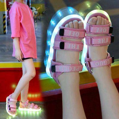 正品防水儿童凉鞋USB充电男女童带亮灯鞋led闪灯鞋夜光鞋带灯凉鞋